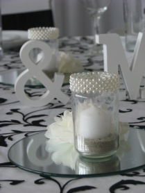 Black and white themed table setting